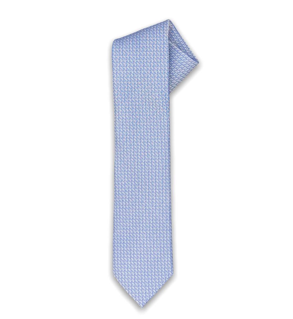Cravatta microfantasia 7 cm fondo celeste 100% seta