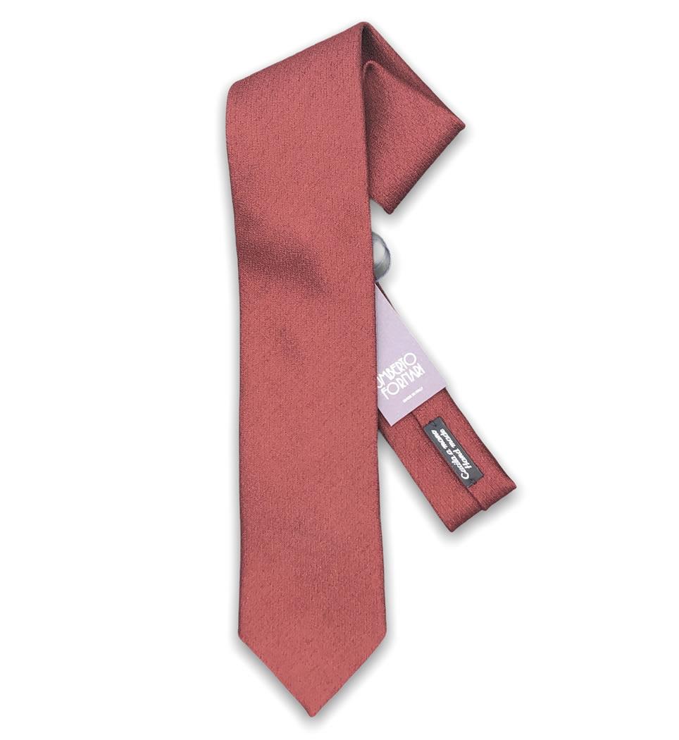 Cravatta cucita a mano 7,5 cm tinta unita rosso opaco 100% seta