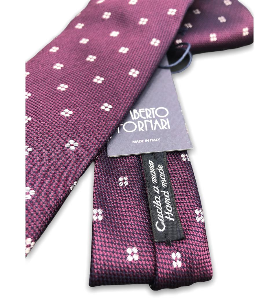 Cravatta cucita a mano 7,5 cm fantasia fondo violetto 100% seta
