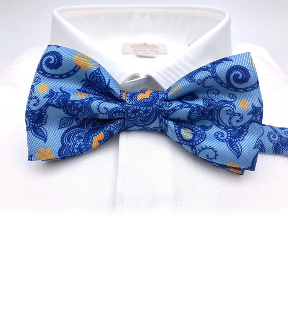 Papillon fantasia fondo azzurro 100% seta