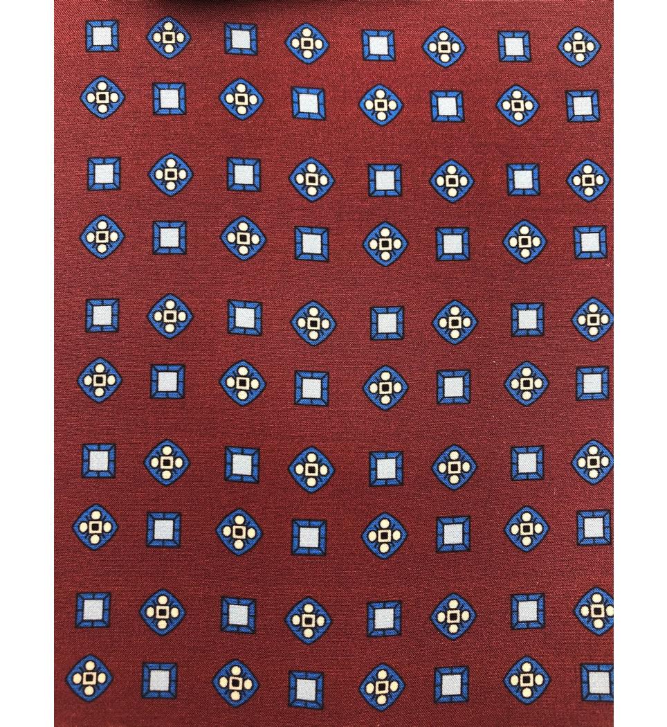 Ascot fantasia fondo rosso scuro 100% seta stampata