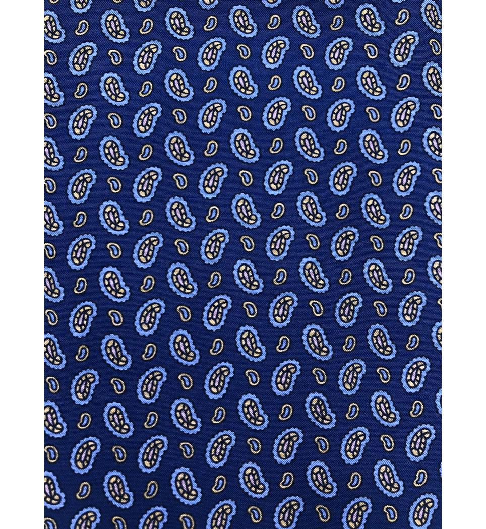 Ascot fantasia fondo blu 100% seta stampata