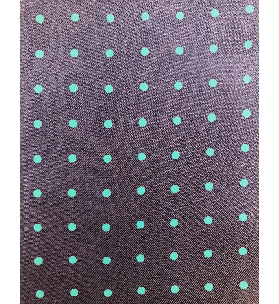 Ascot fantasia fondo blu pois verde scuro 100% seta stampata