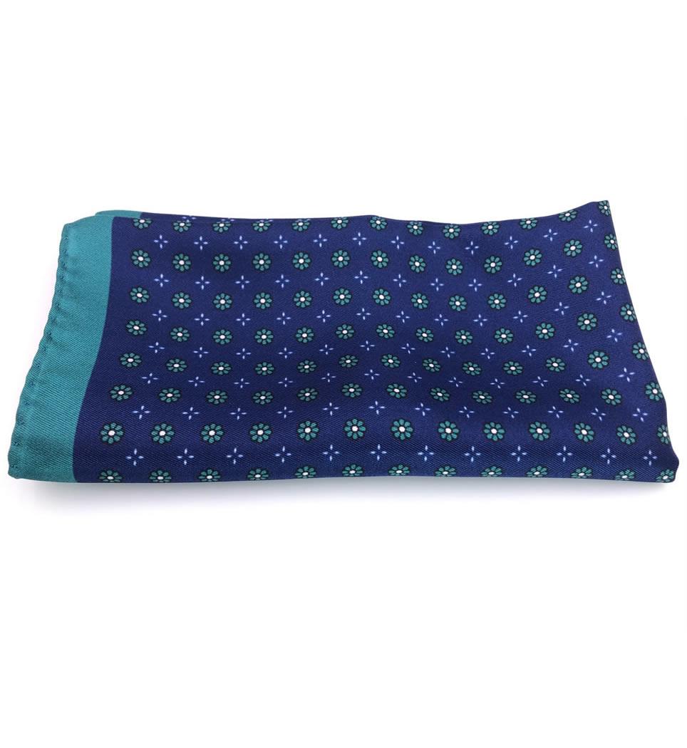 Pochette fantasia blu verde 100% seta stampata