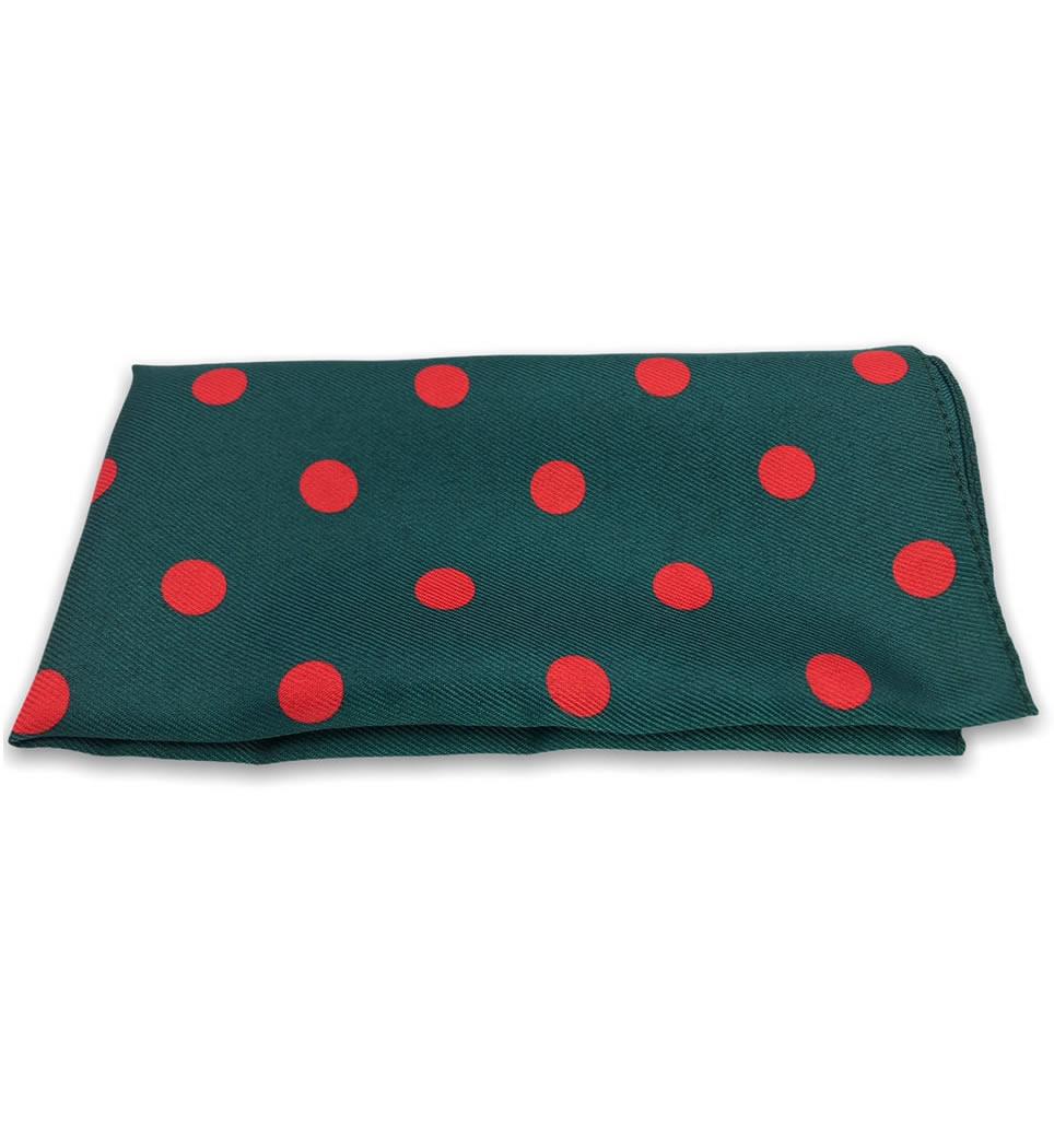 Pochette fantasia fondo verde pois rosso 100% seta stampata