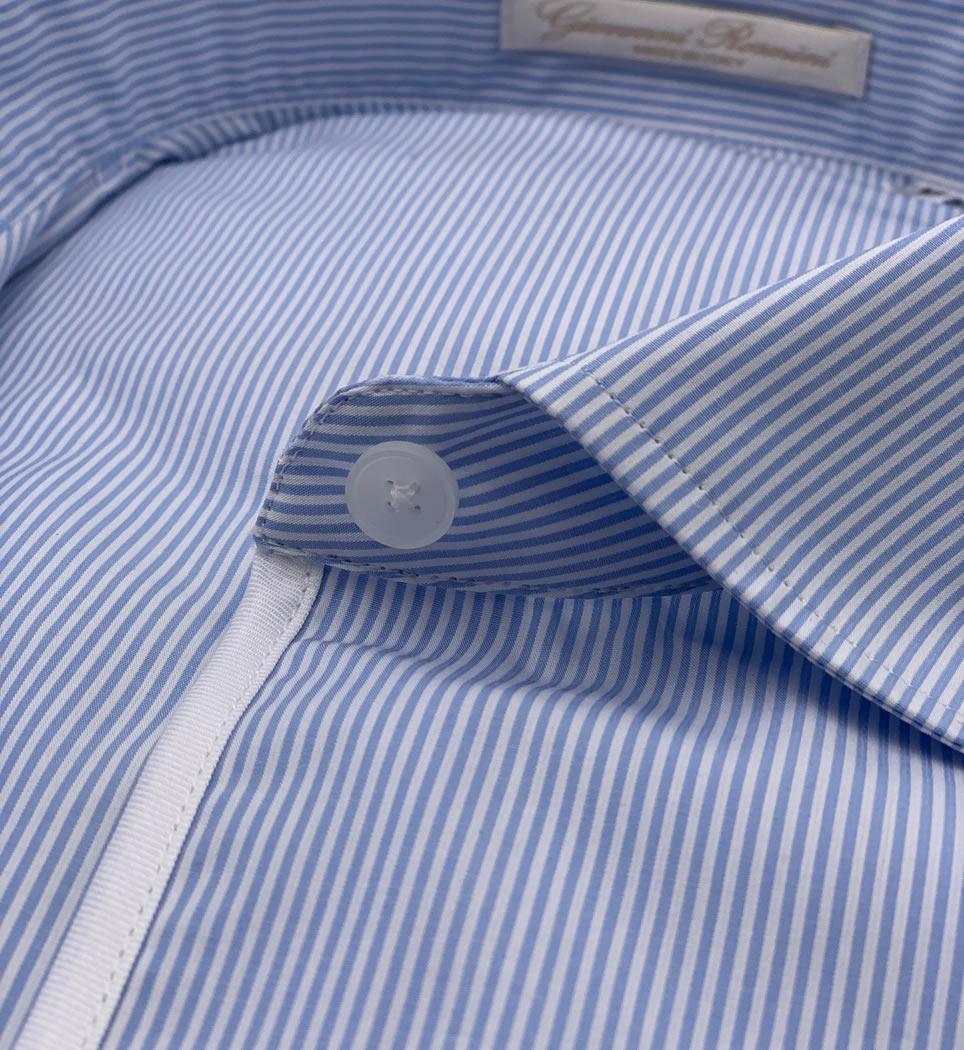 Camicia donna avvitata 4 pinces collo francese morbido righe celeste 100% cotone