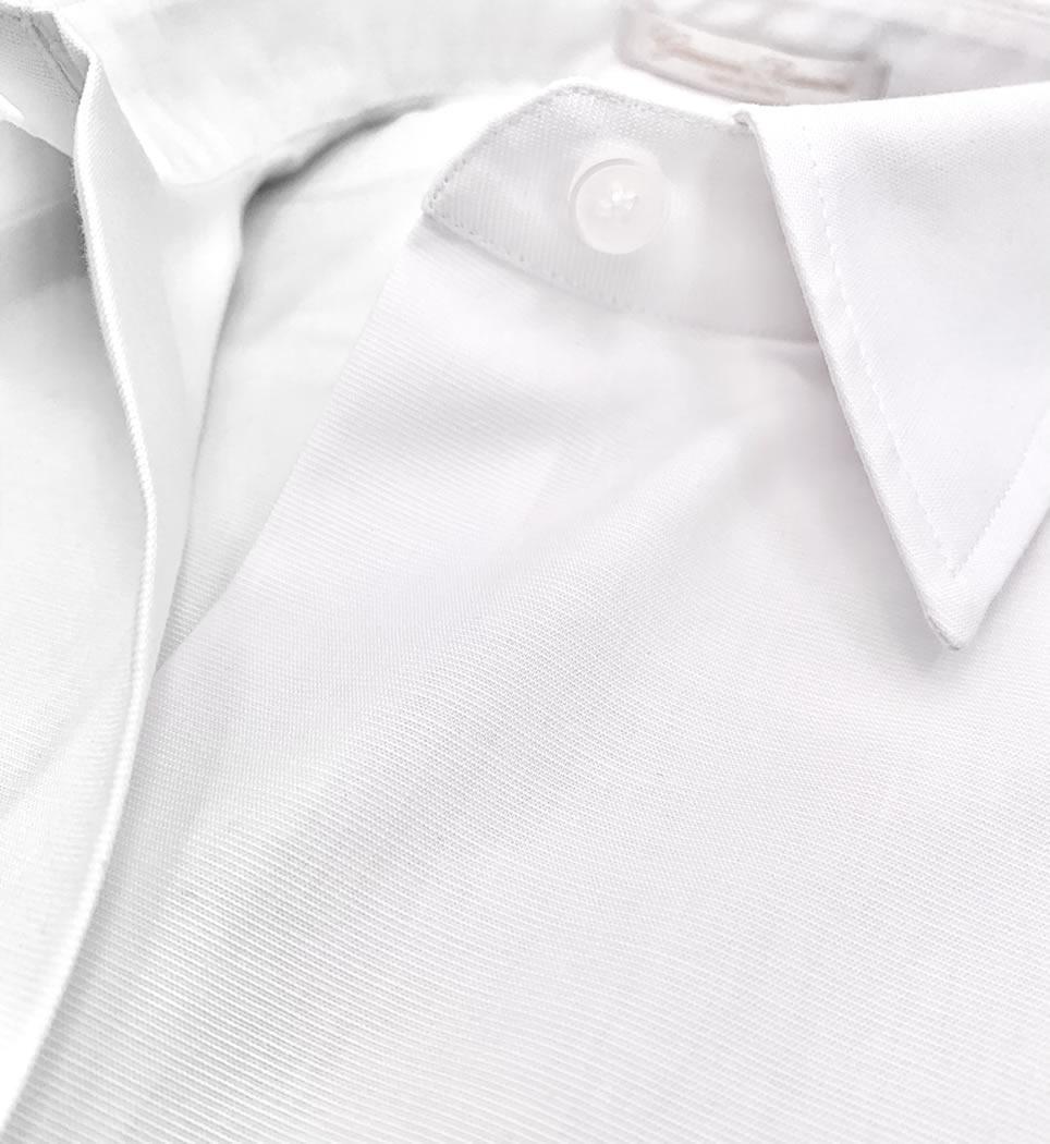 Camicia donna avvitata 4 pinces collo italiano morbido tinta unita bianco 100% cotone