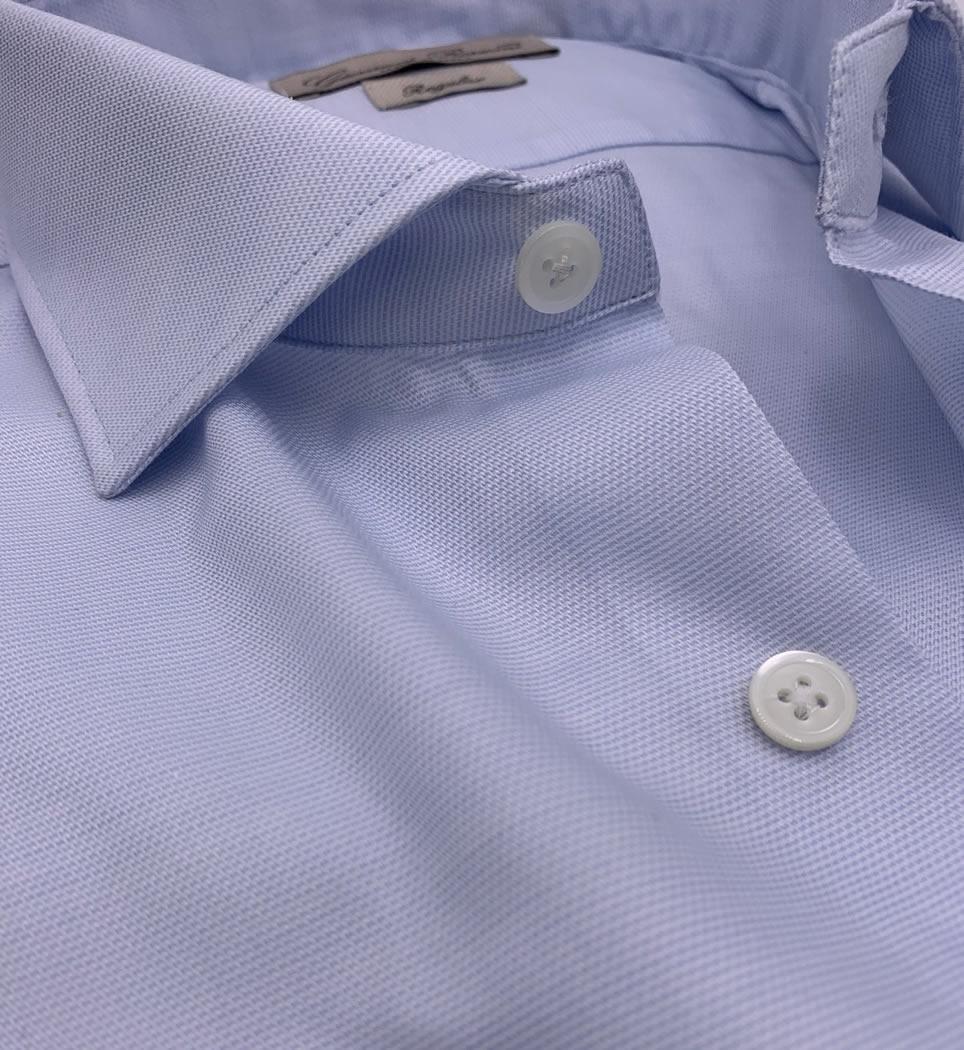 Camicia Uomo Regular collo francese tinta unita celeste 100% cotone