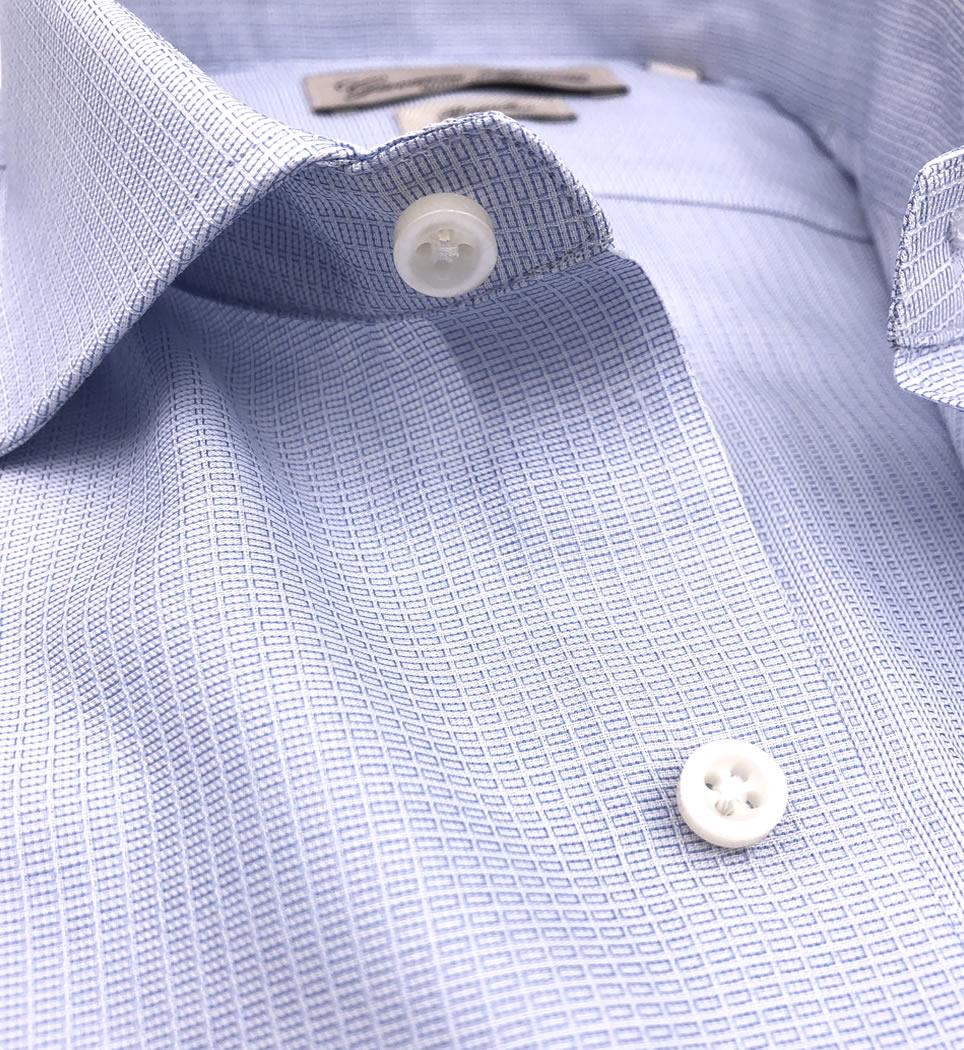 Camicia Uomo Regular collo francese micro fantasia celeste 100% cotone