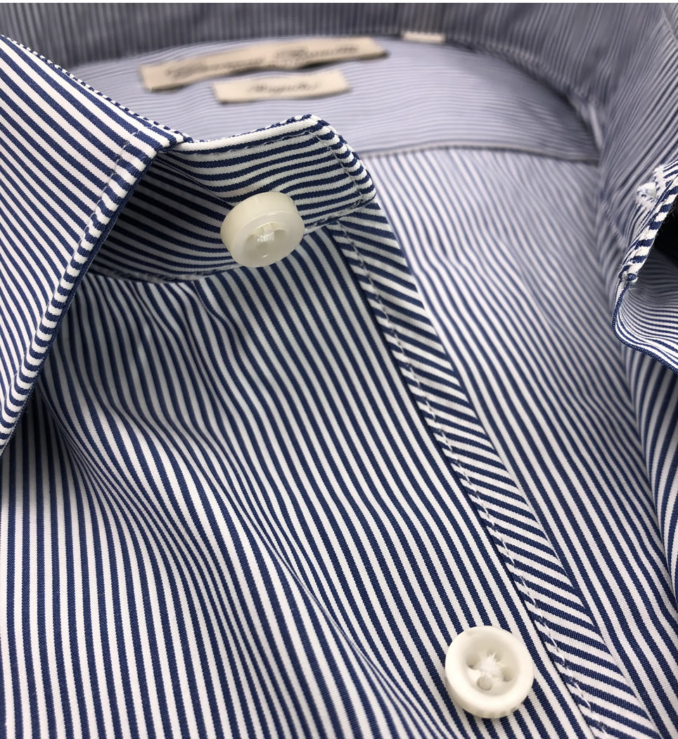 Camicia Uomo Regular collo italiano righe azzurre 100% cotone