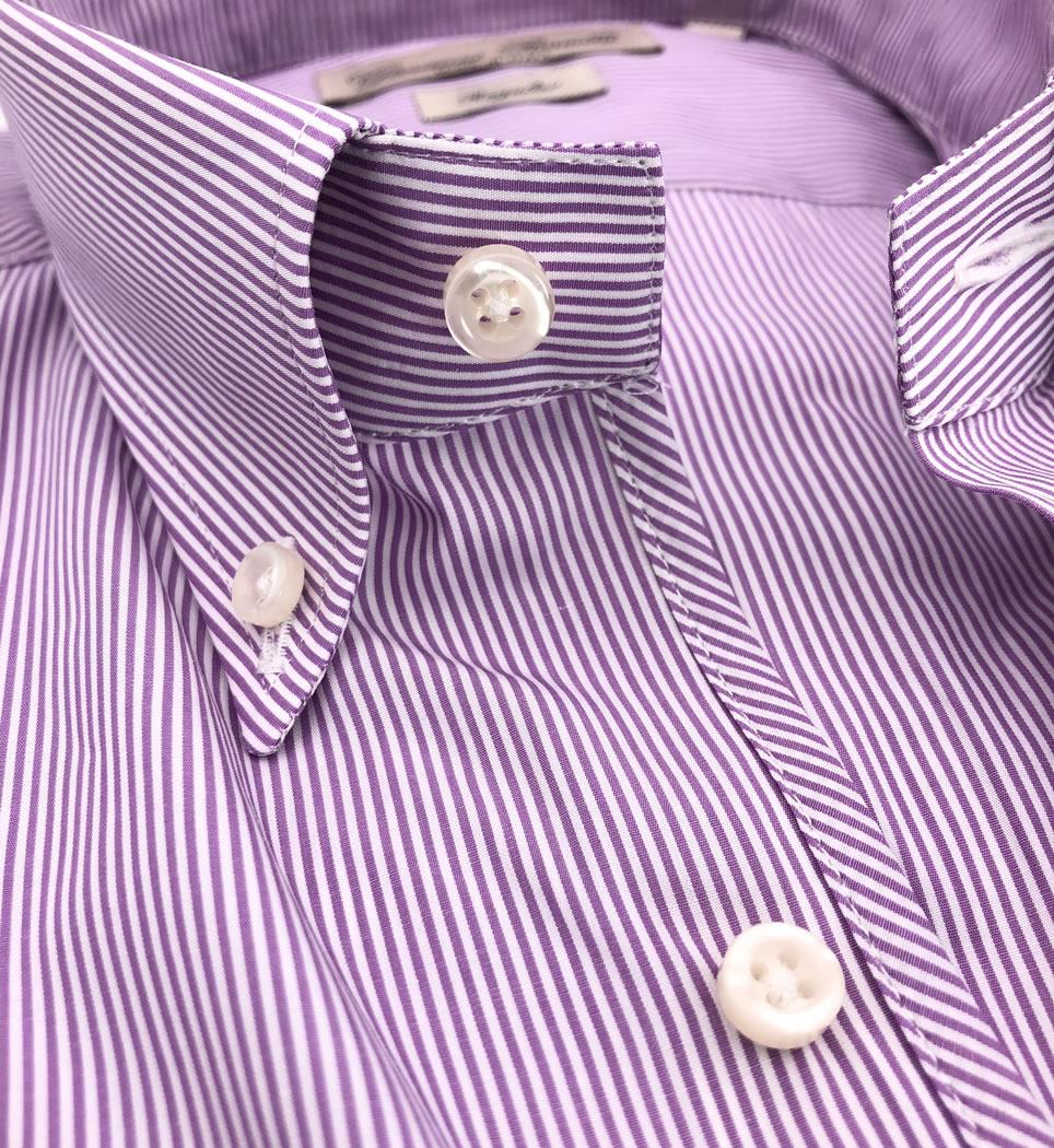 Camicia Uomo Regular collo button down righe fuscsia 100% cotone