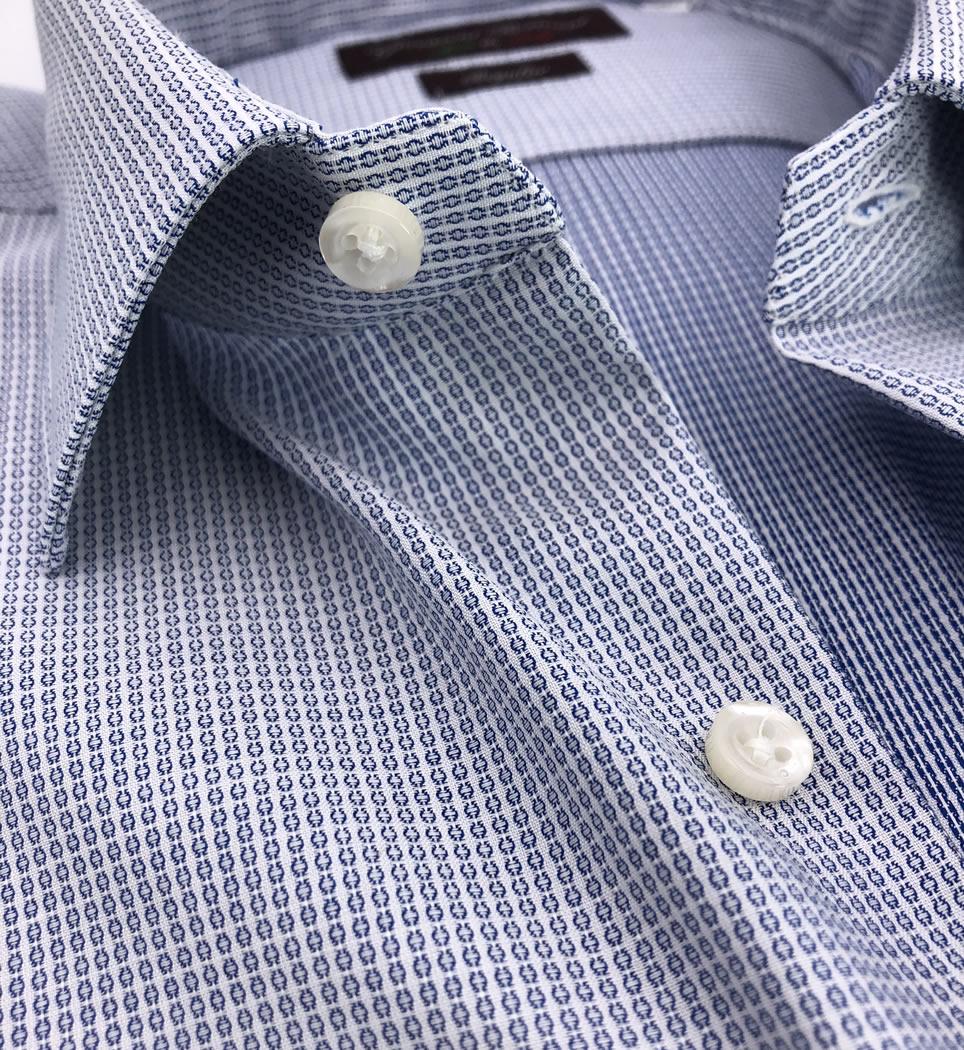 Camicia Uomo Regular collo italiano micro fantasia celeste 100% cotone
