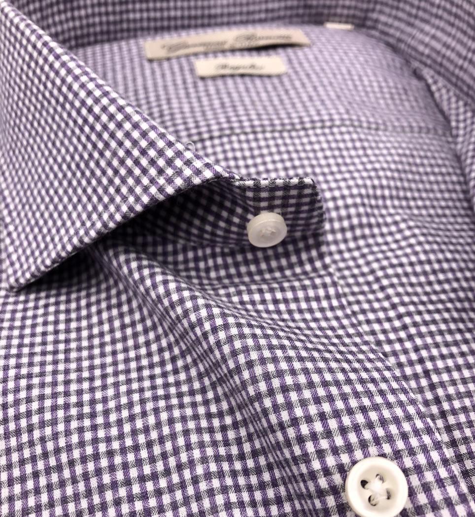 Camicia Uomo Regular collo francese quadretti grigio fucsia 100% cotone