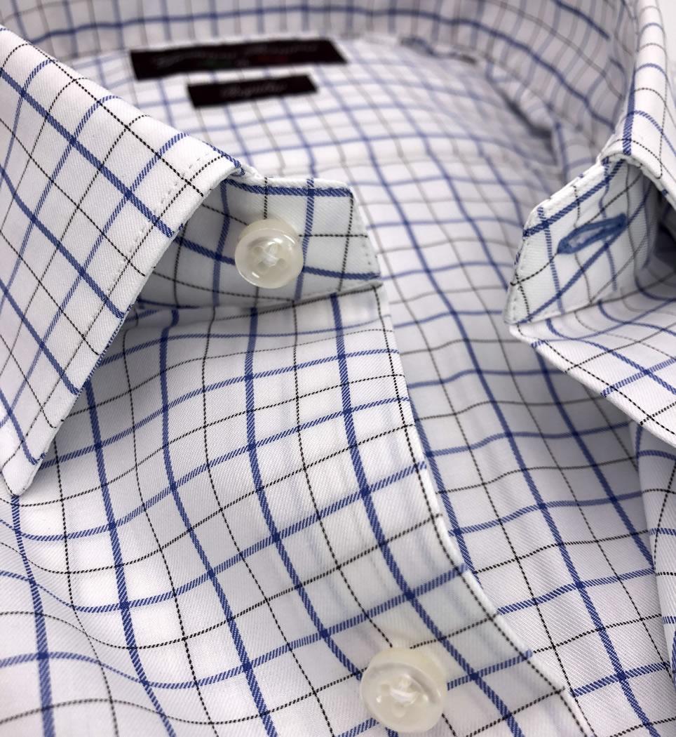 Camicia Uomo Regular collo italiano quadri 100% cotone