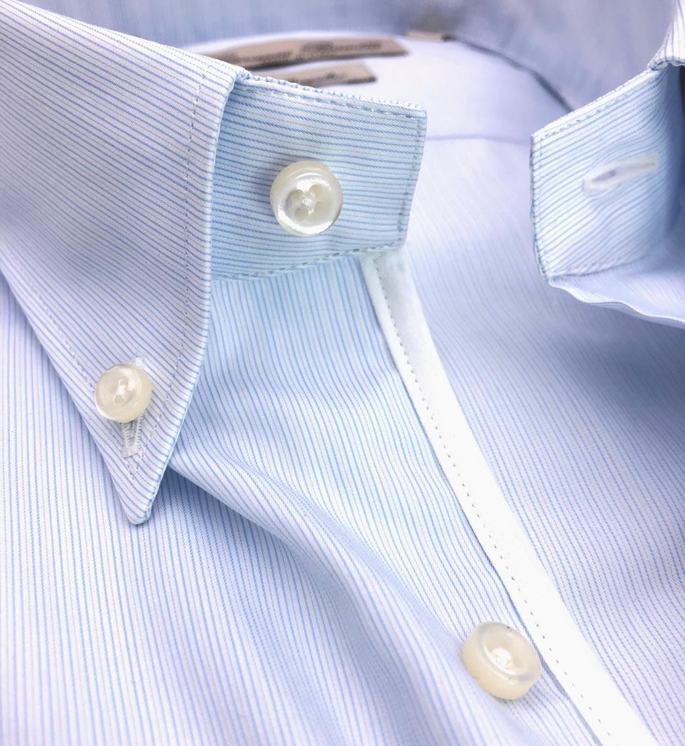 Camicia Uomo Regular collo button down righe celeste 100% cotone