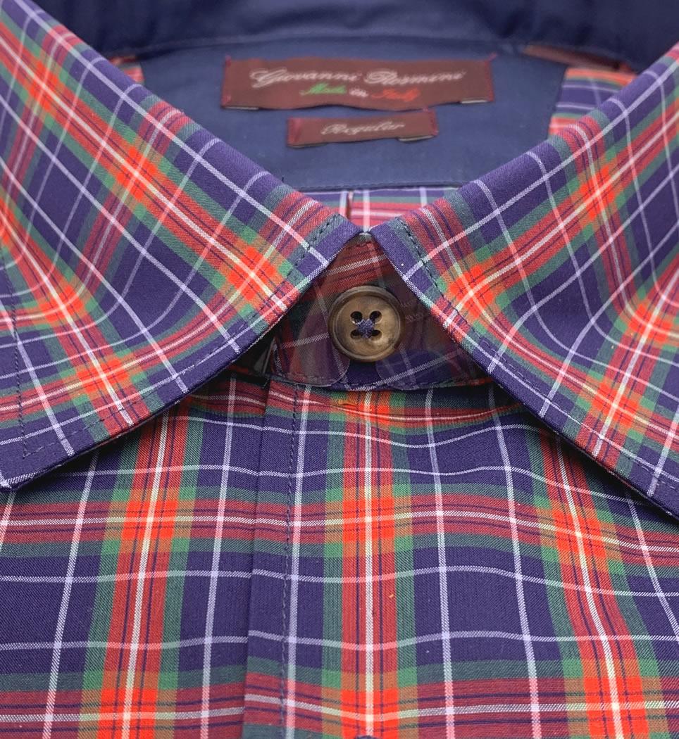 Camicia Uomo Regular collo morbido quadri blu-rosso-verde 100% cotone