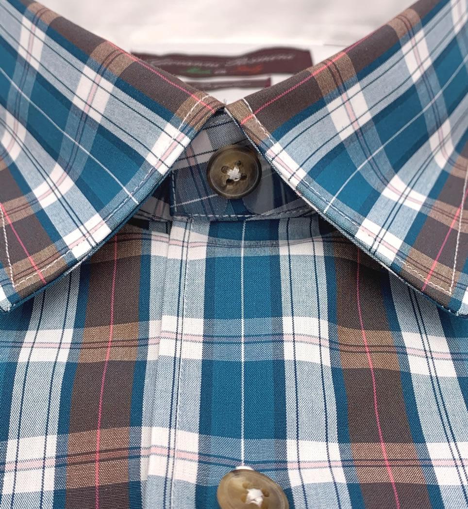 Camicia Uomo Regular collo morbido quadri verde-acqua-bianco-marrone 100% cotone