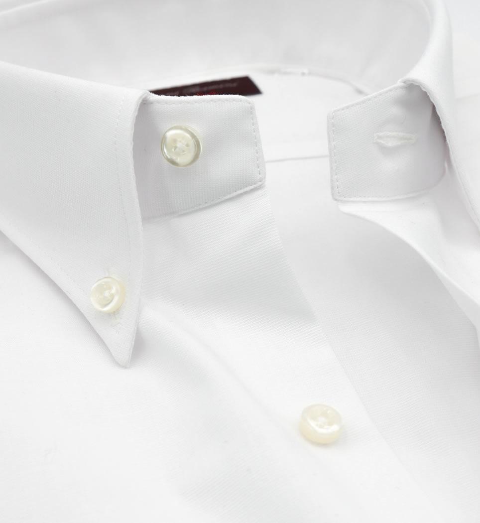 Camicia Uomo Regular collo button down tinta unita bianco 60% cotone - 40% poliammide