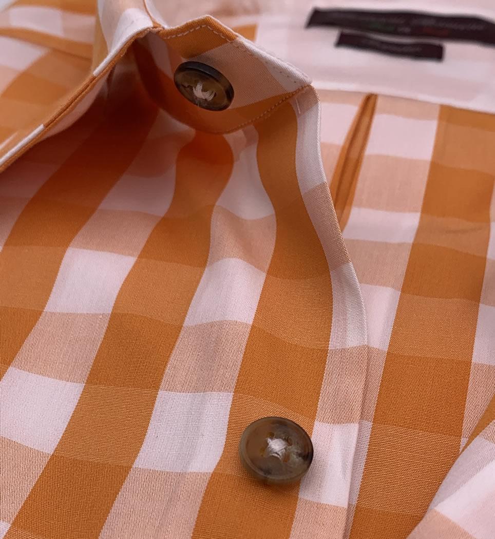 Camicia Uomo Regular collo morbido quadri bianco-arancio 100% cotone