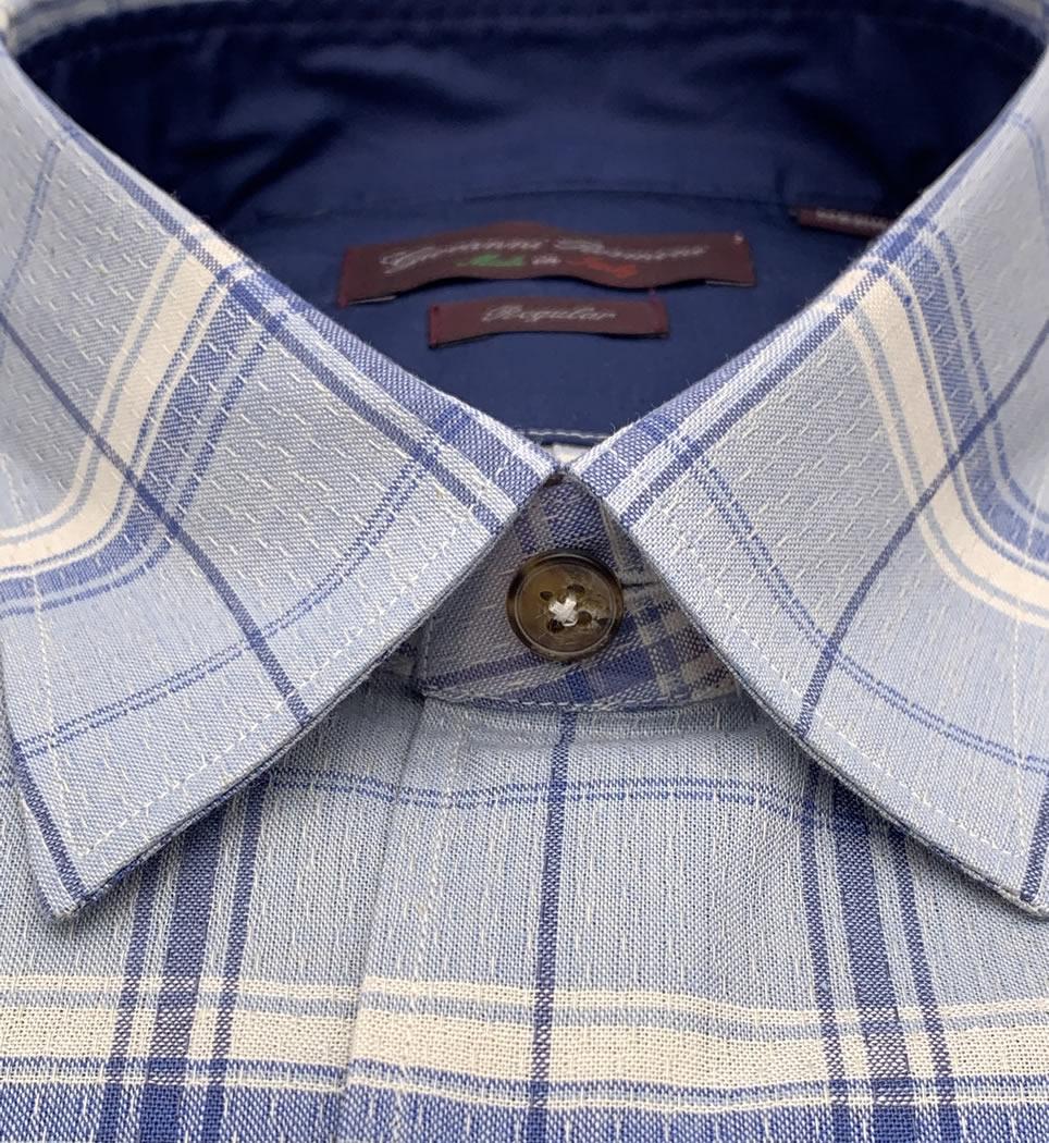 Camicia Uomo Regular collo morbido quadri bianco-celeste 100% cotone