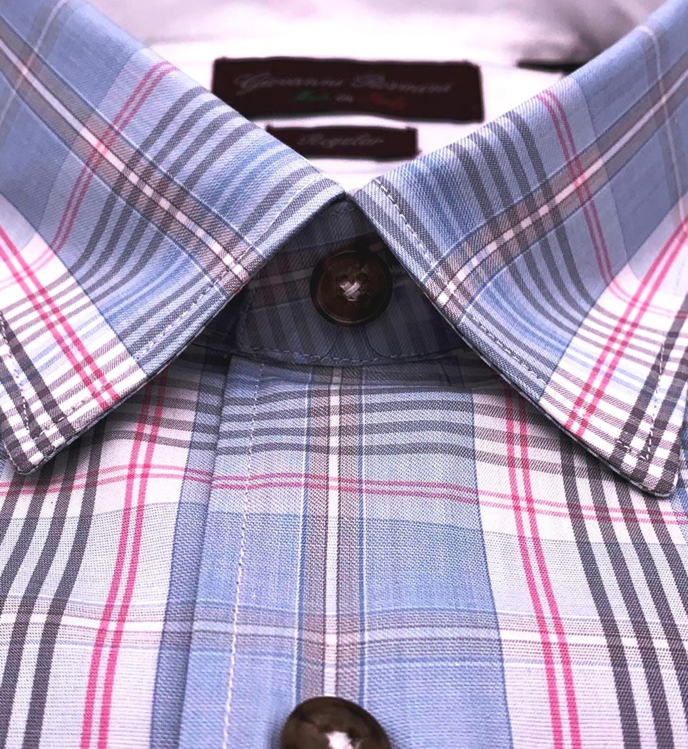 Camicia Uomo Regular collo morbido quadri bianco-celeste-rosa 100% cotone