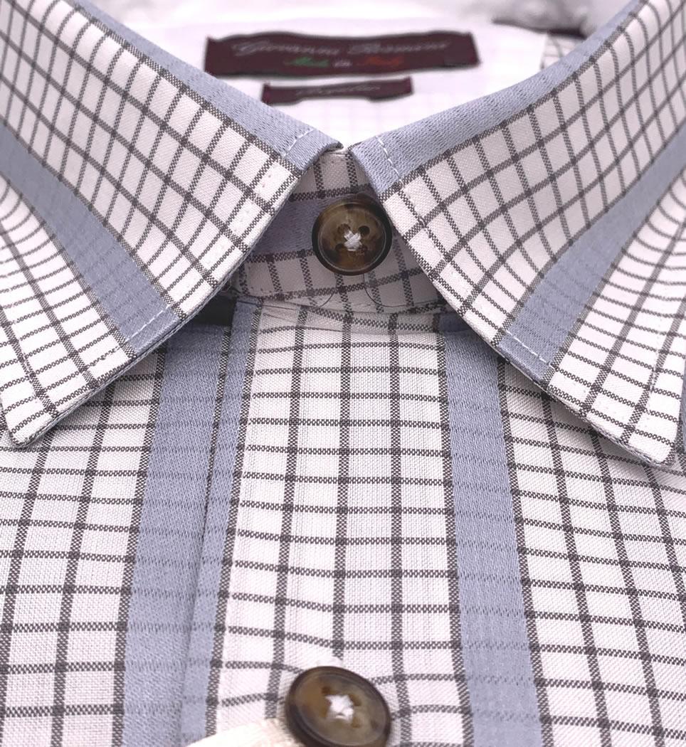 Camicia Uomo Regular collo morbido quadri bianco-grigio-perla 100% cotone