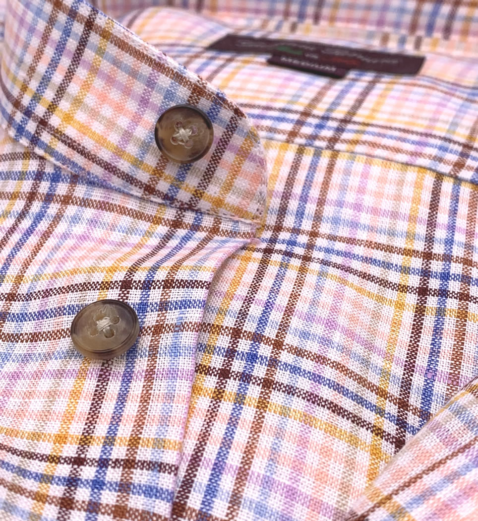 Camicia Uomo Regular collo alla coreana quadri multicolor 100% lino