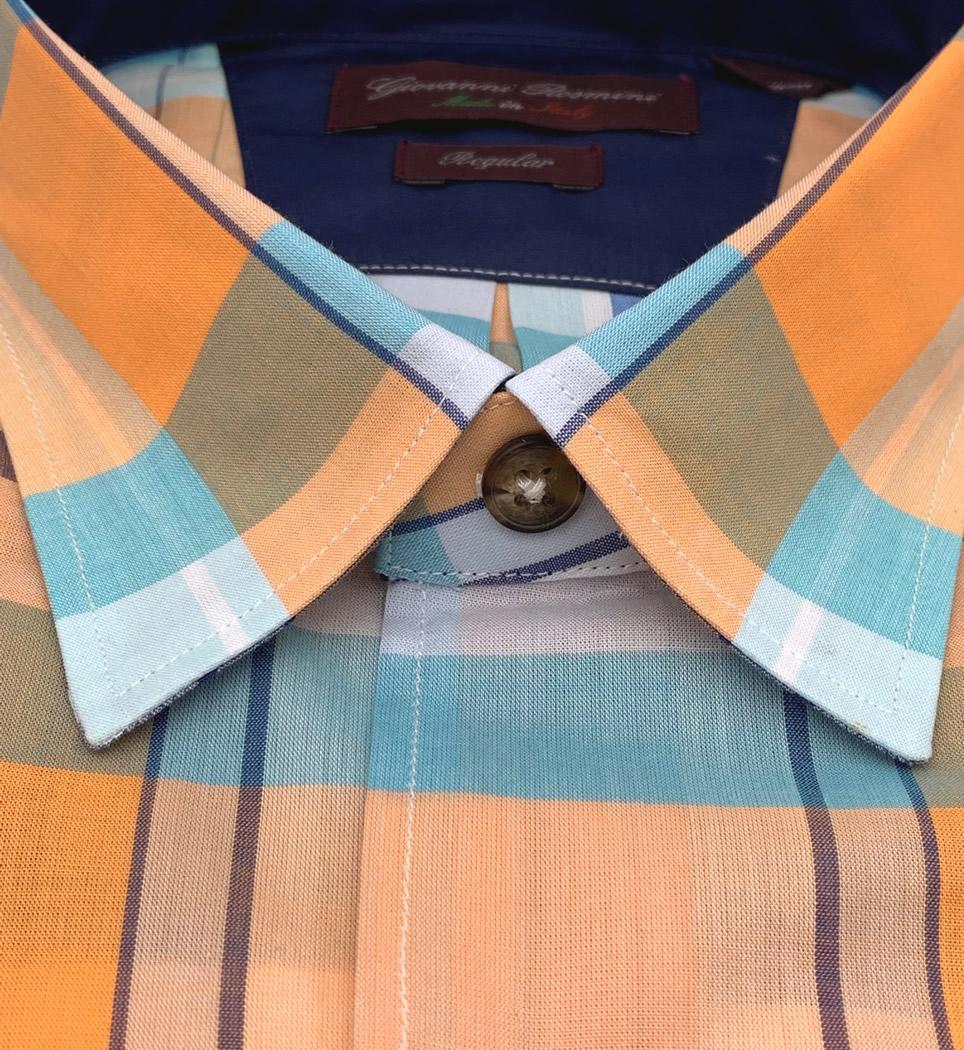 Camicia Uomo Regular collo morbido quadri arancio-celeste-blu 100% cotone