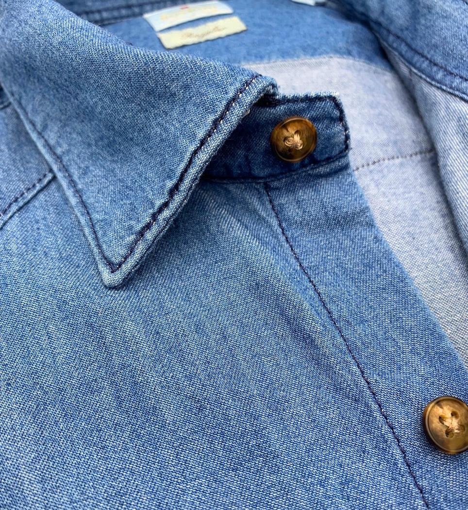 Camicia Uomo Regular collo morbido jeans blu slavato 100% cotone