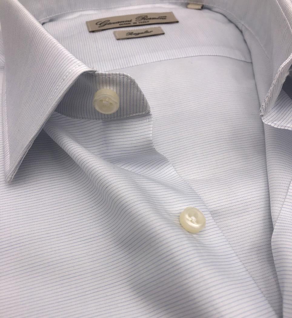Camicia uomo regular collo italiano tinta unita celeste 100% cotone