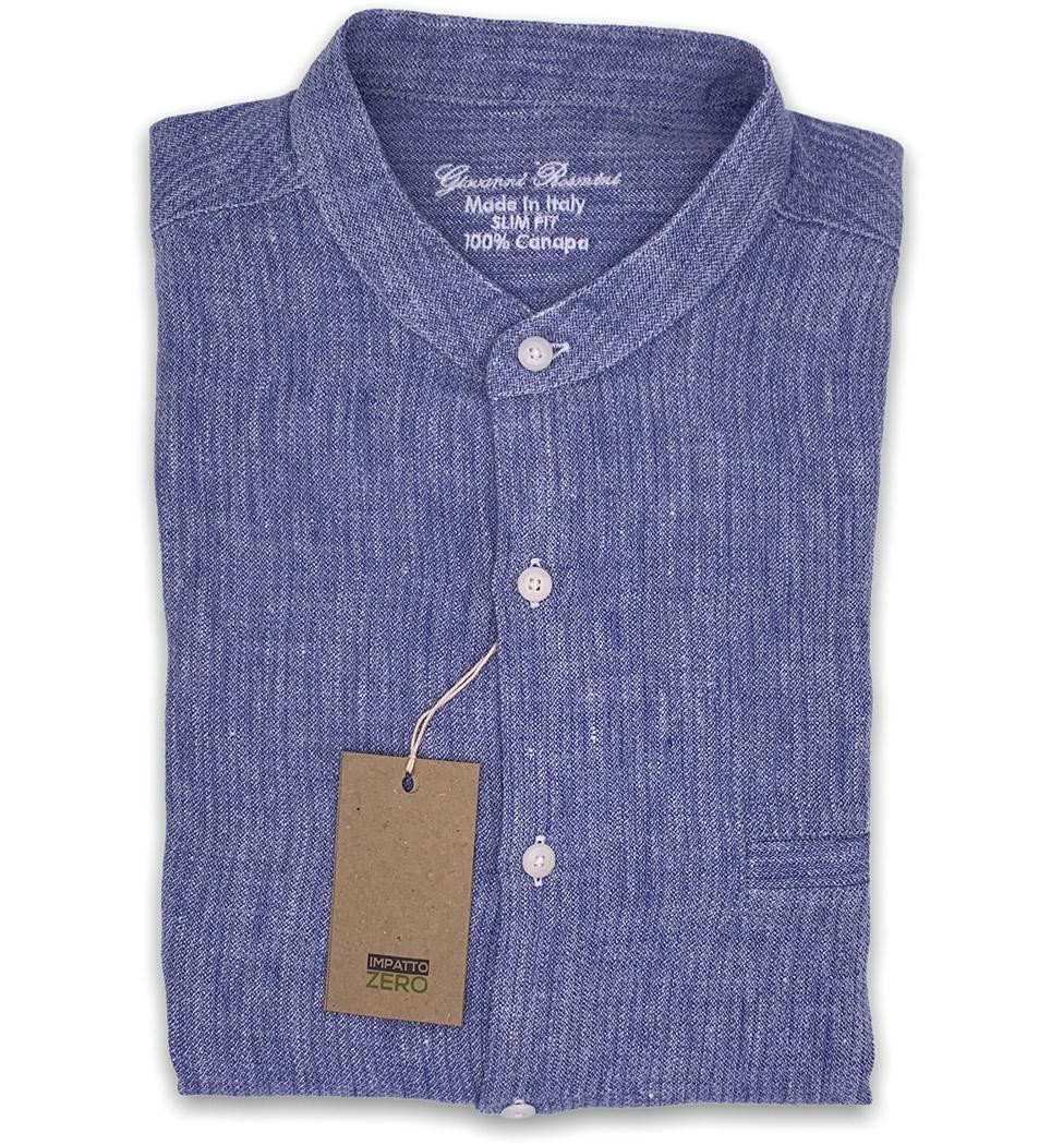 Camicia Uomo Slim collo alla coreana tinta unita azzurro 100% CANAPA LINEA IMPATTO ZERO