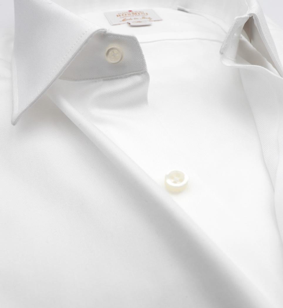 Camicia Uomo Slim collo italiano tinta unita twill bianco 100% cotone