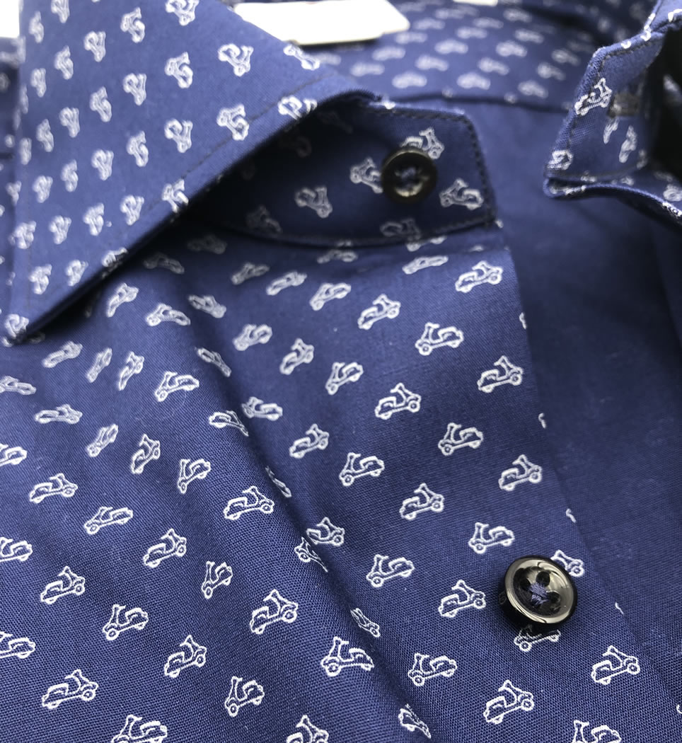 Camicia Uomo Slim collo francese Fantasia 100% cotone
