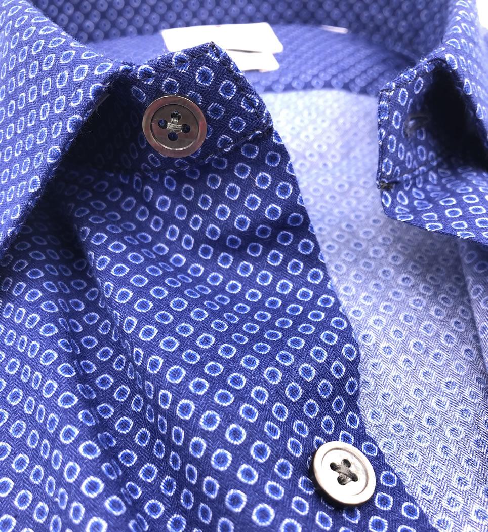 Camicia Uomo Slim collo italiano Fantasia 100% cotone