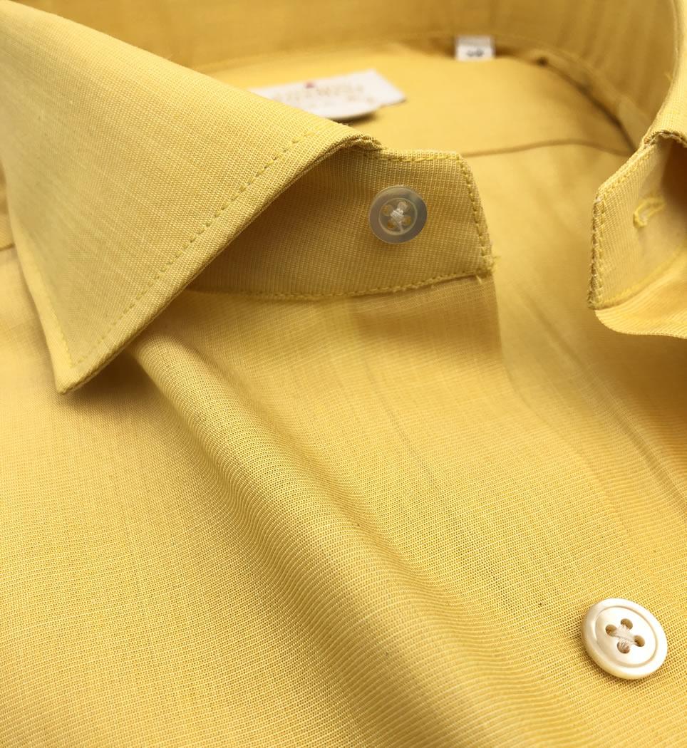 Camicia Uomo Slim collo francese Tinta unita senape 100% cotone