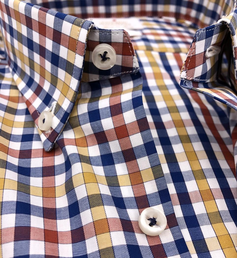Camicia Uomo Slim collo button down Quadri 100% cotone