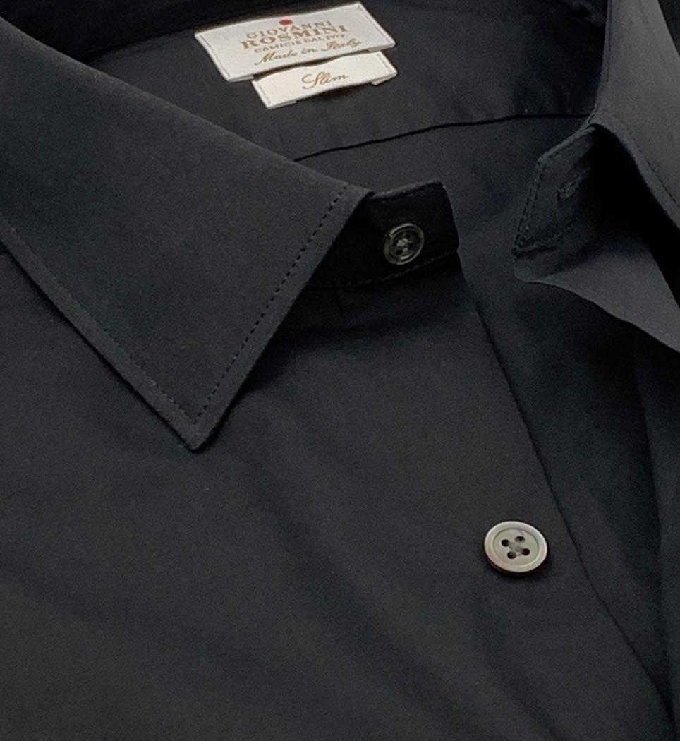 Camicia Uomo Slim collo italiano tinta unita nero 100% cotone
