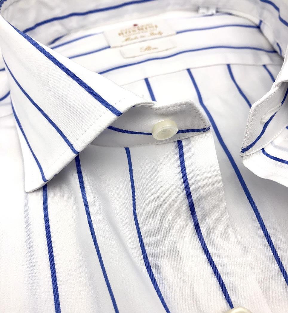 Camicia uomo slim collo francese righe 100% cotone