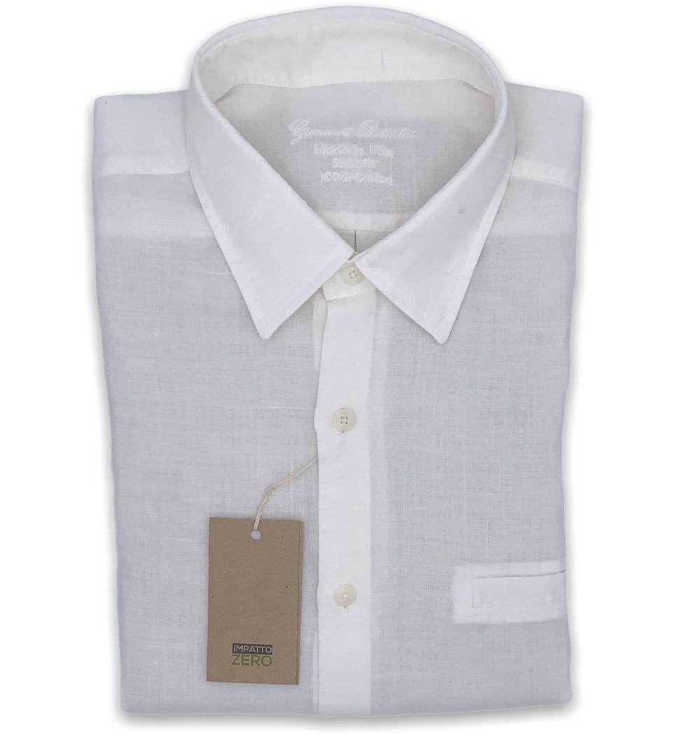 Camicia Uomo Slim collo morbido tinta unita bianco 100% ORTICA LINEA BIO IMPATTO ZERO