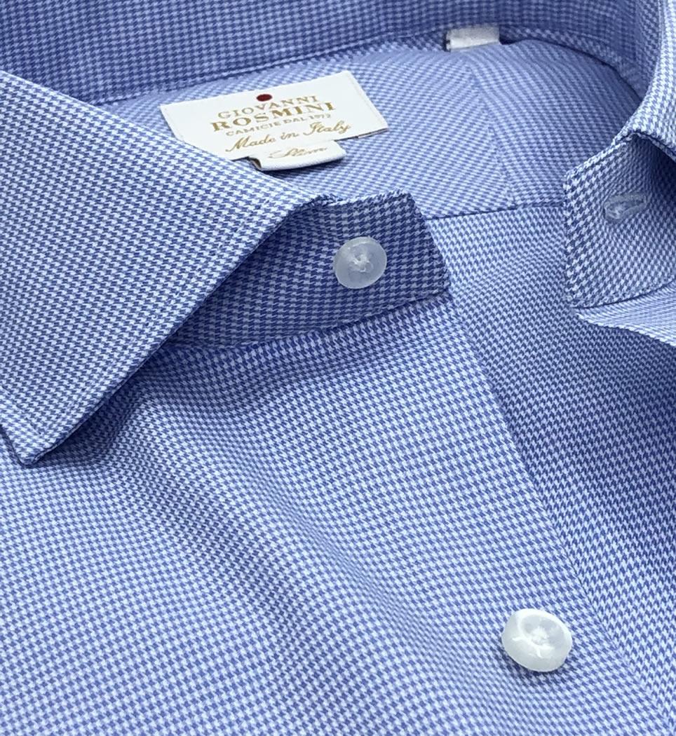 Camicia Uomo Slim collo francese Microdisegno 100% cotone
