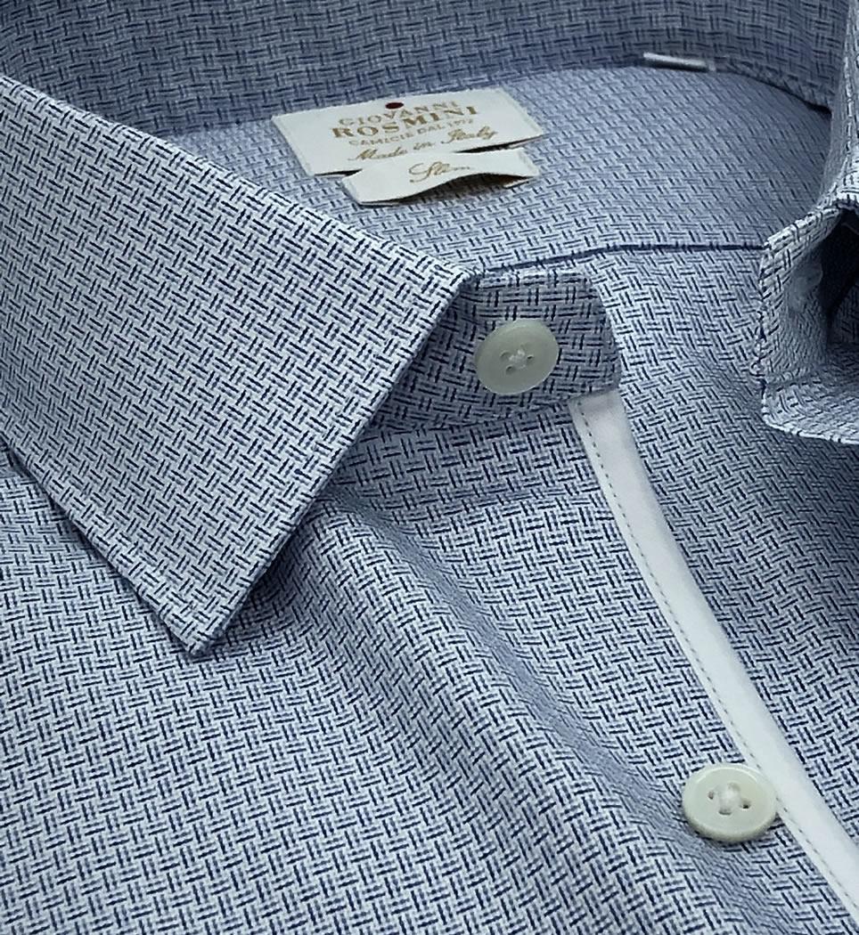 Camicia Uomo Slim collo italiano Microdisegno 100% cotone