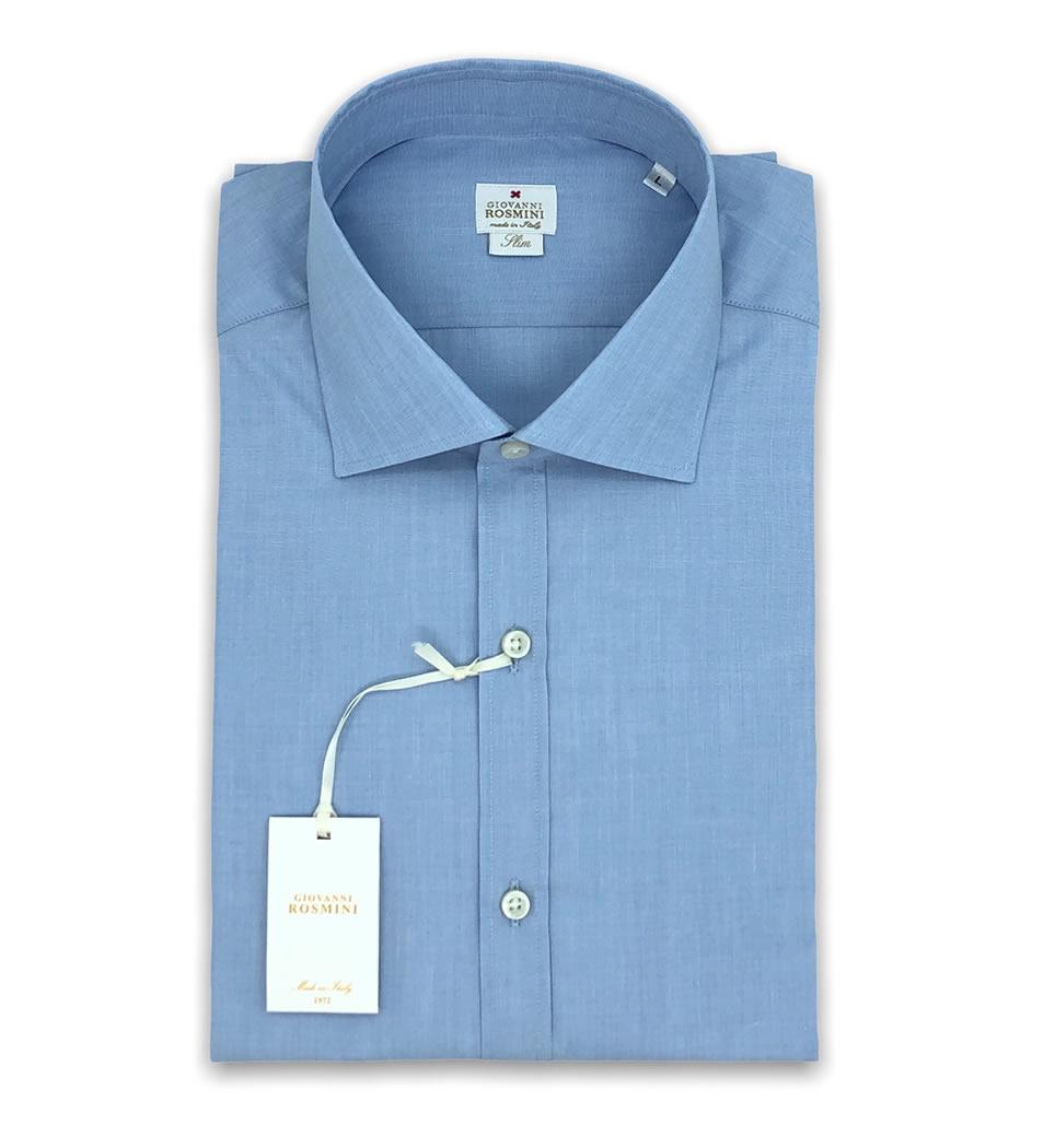 Camicia Uomo Slim collo francese Tinta unita Celeste 100% cotone